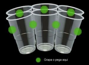 grapa o pega en el punto verde