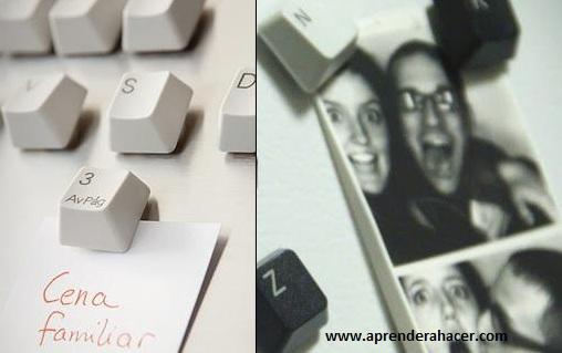 Imanes con teclados reciclados