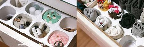 Organizador con envases de yogurt