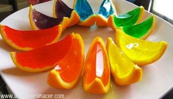 Gelatinas en cascara de naranja