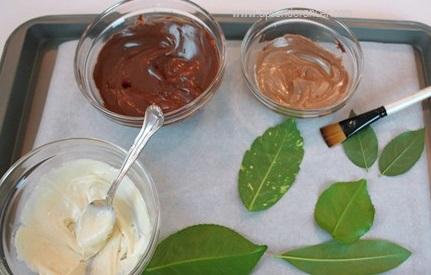 Materiales para hojas de chocolate