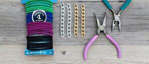 Materiales para pulsera con ligas y cadena