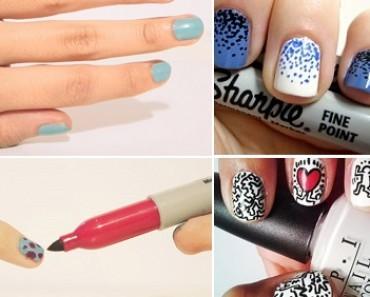 uñas con marcadores sharpie